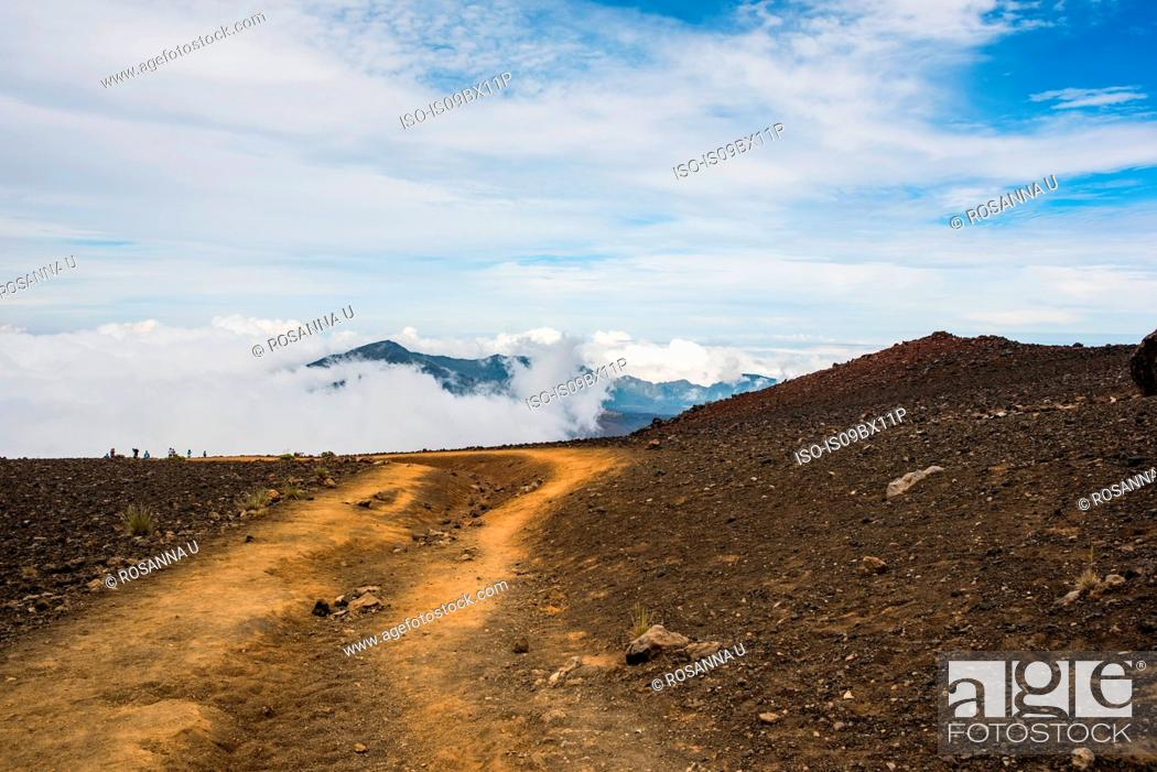 Stock Photo: Barren landscape, Haleakala, Maui, Hawaii.