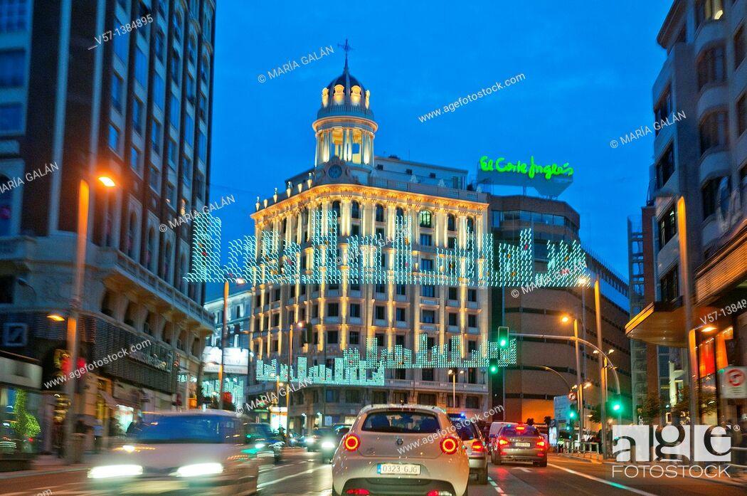 Stock Photo: Gran Vía street, night view. Madrid, Spain.