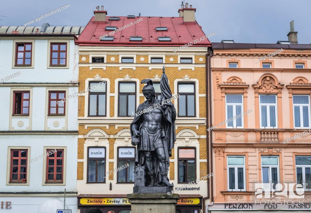Stock Photo: Fountain sculpture on the Town Square in Frydek-Mistek city in the Moravian-Silesian Region of Czech Republic.