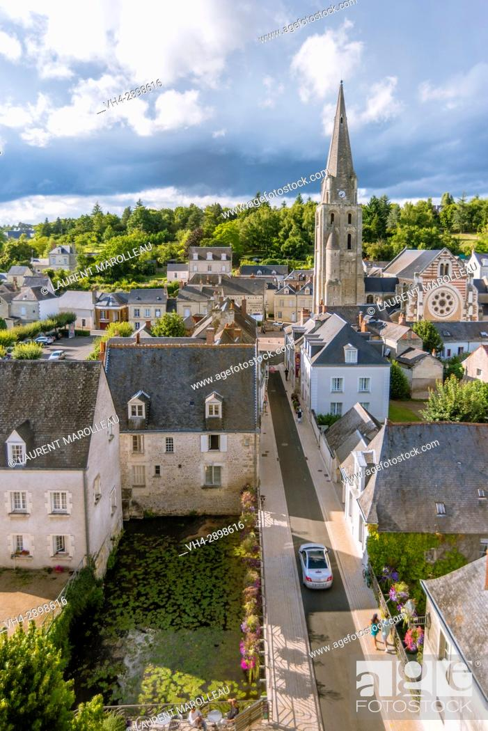 Stock Photo: The City View from the Castle of Langeais with Saint-Jean-Baptiste Church, Indre-et-Loire, Centre region, Loire valley, France, Europe.