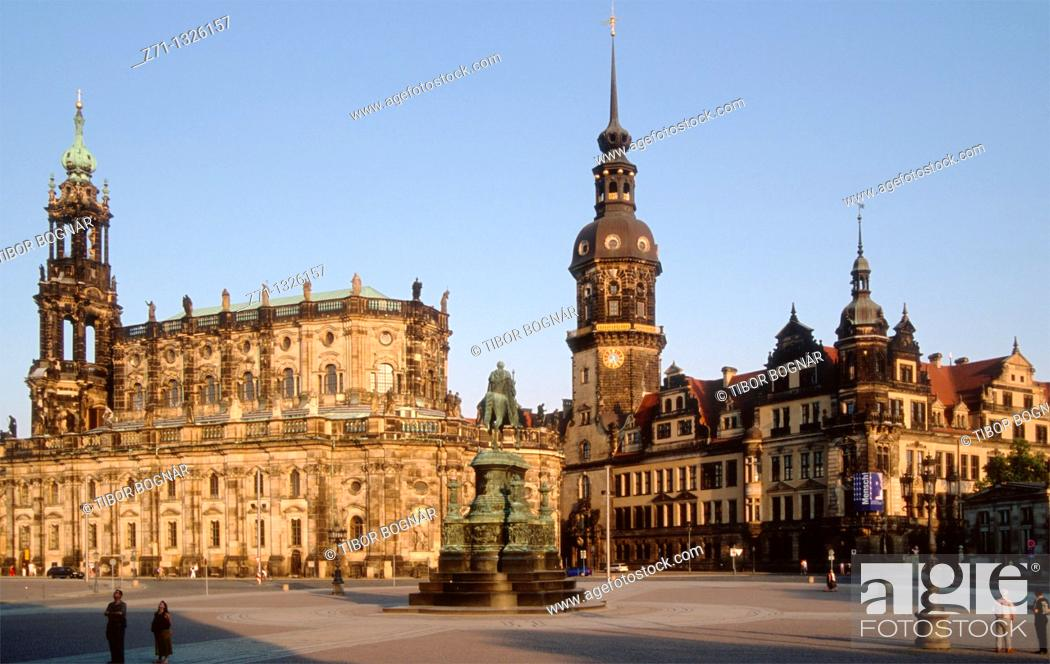 Stock Photo: Germany, Saxony, Dresden, Cathedral, Castle,.