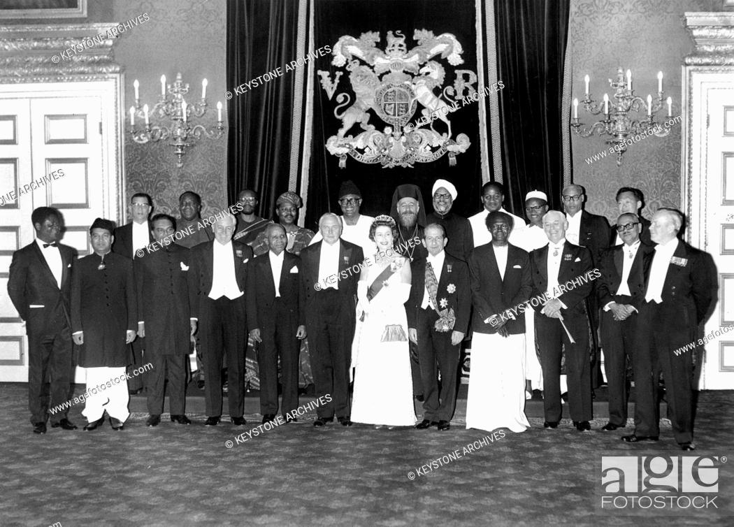 Stock Photo: Queen Elizabeth II hosting the Commonwealth Conference, St James's Palace, London, 1966.