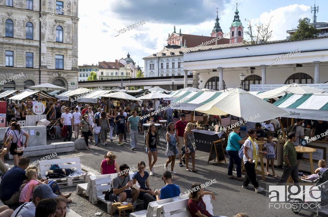 Stock Photo: Open market and Open Kitchen at Pogacar Square, Ljubljana, Slovenia.