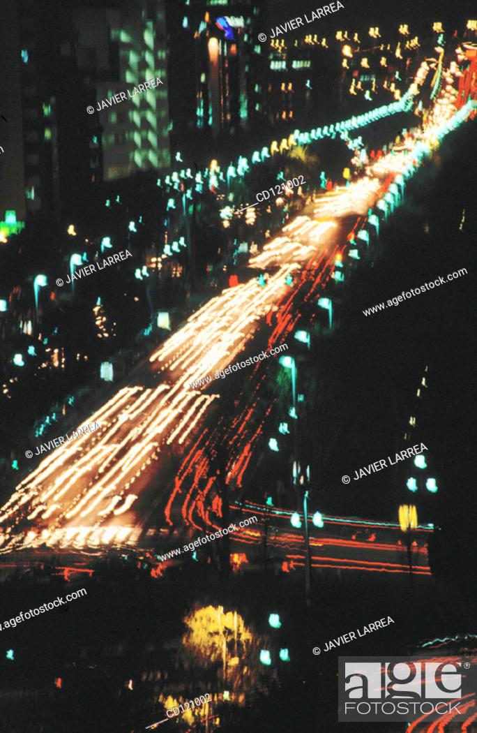 Stock Photo: Traffic at night in Diagonal Avenue. Barcelona. Spain.