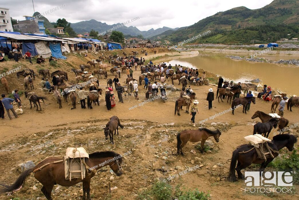 Stock Photo: Bac Ha market. Hmong Horse market and food and drink place. Sapa. Vietnam.