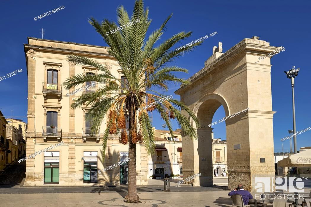Stock Photo: Porta Reale (Royal Gate), the entrance to the old city of Noto Sicily Italy.