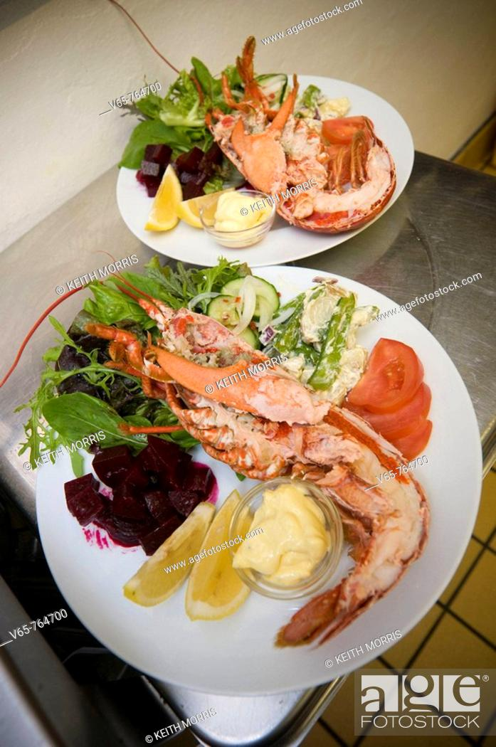 Stock Photo: two platters of cardigan bay fresh lobster salad in the Hive on the Quay seafood restaurant, Aberaeron, Ceredigion, Wales UK.