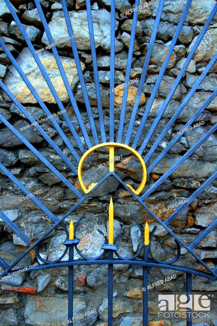 Stock Photo: detail of the wrought iron fence, Celler Güell, 1901, modernism, architects Antoni Gaudí and Francesc Berenguer, El Garraf, Catalonia, Spain.
