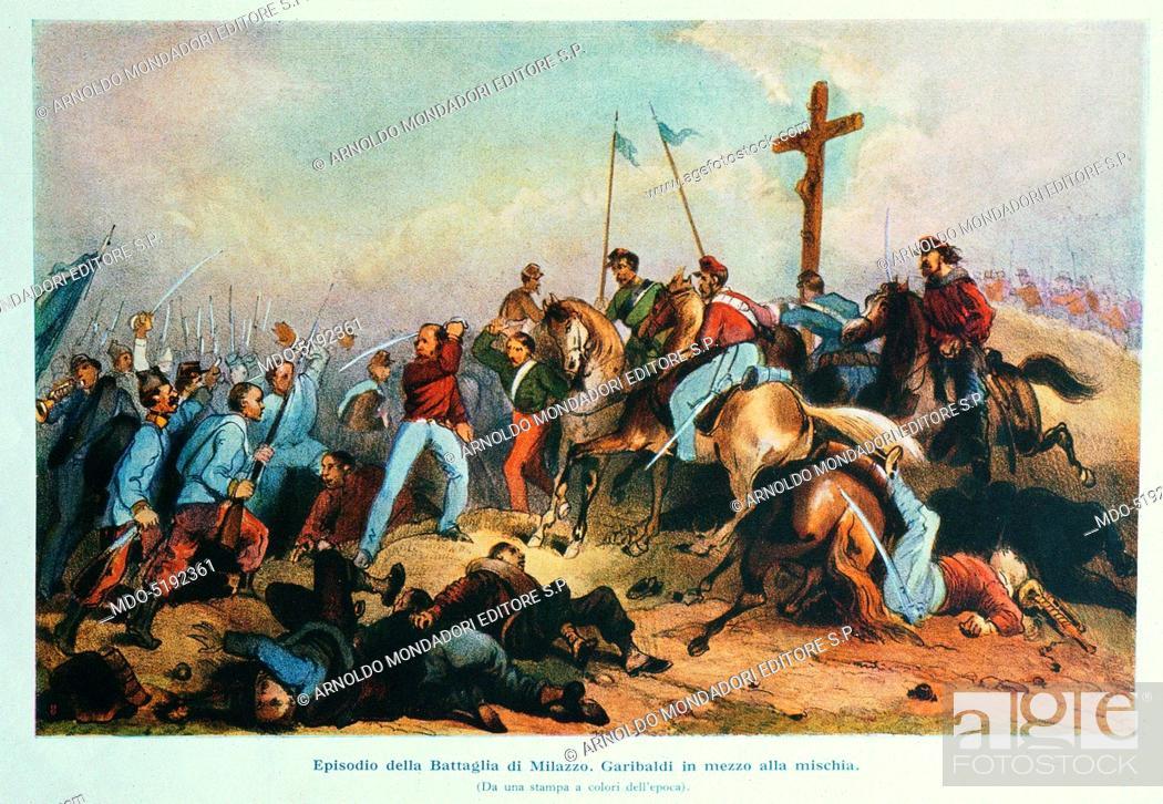 Stock Photo: Giuseppe Garibaldi during the Battle of Milazzo (Giuseppe Garibaldi durante la Battaglia di Milazzo), 19th Century, engraving.