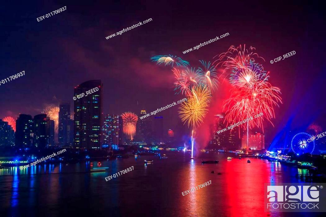 Stock Photo: Fireworks countdown (Happy New Year.
