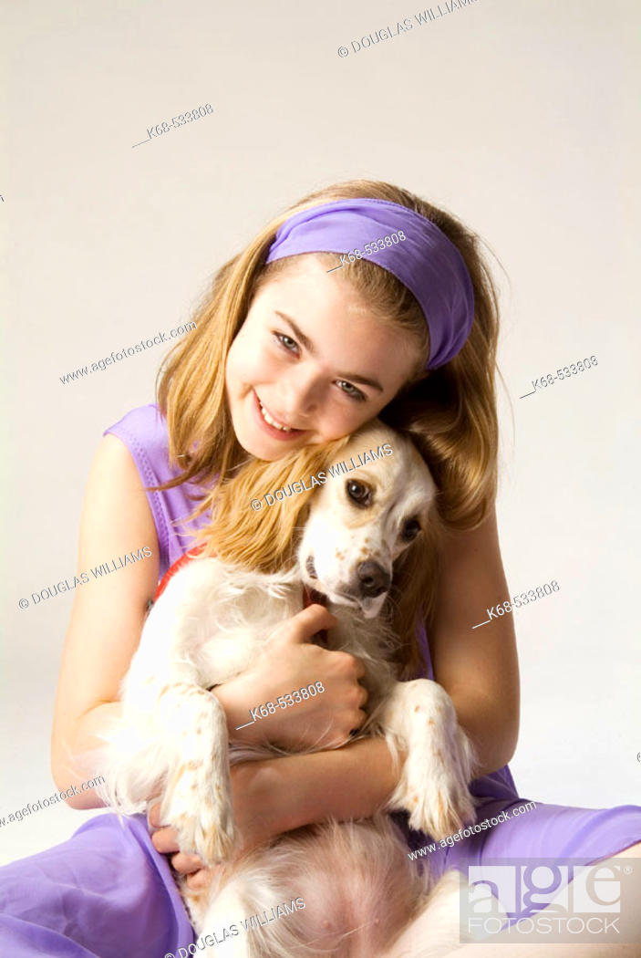 Stock Photo: dog and girl, 10.