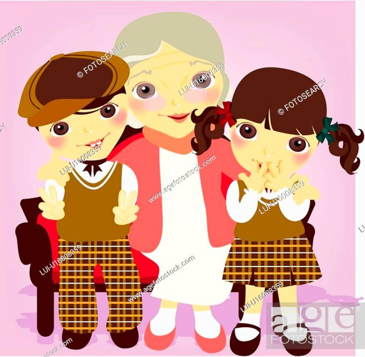 Stock Photo: boy, child, girl, kid, children, large family.