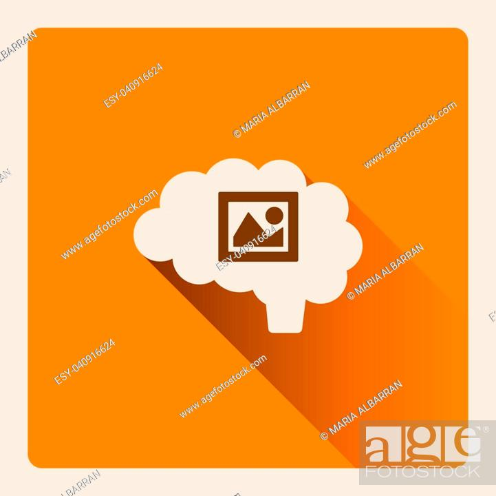 Stock Vector: Brain thinking in art illustration on yellow square background with shade.