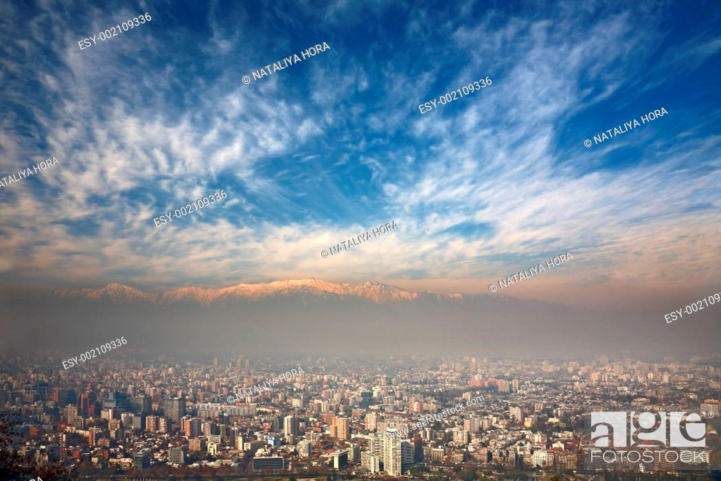 Stock Photo: birdeye view of Andes and Santiago, Chile, view from Cerro San Cristobal.