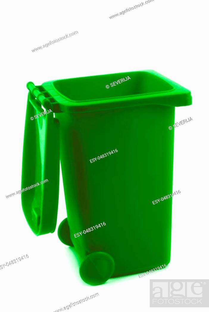 Stock Photo: rubbish litter bin isolated on white.