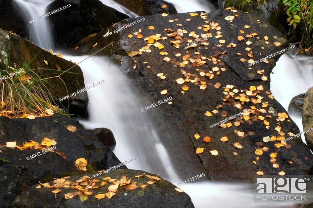 Stock Photo: Cascade  Artiga de Lin  Aran Valley  Lerida province  Catalonia, Spain, Europe.