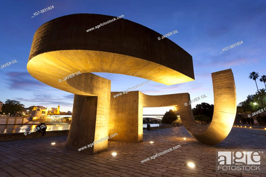 Stock Photo: Chillida sculpture, Sevilla, Andalusie, Spain.