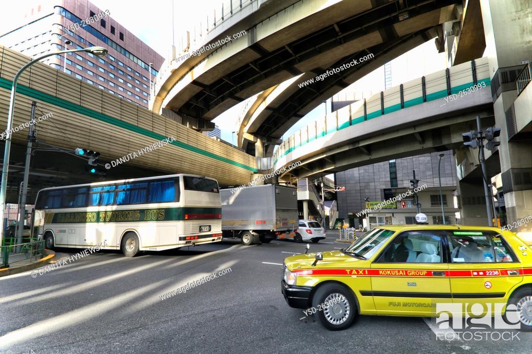 Stock Photo: Urban landscape of Tokyo, Hakozaki junction of Metropolitan Expressways 6 and 9, near Tokyo City Terminal, Nihonbashi-Hakozaki-cho, Chuo , Chuo-ku, Tokyo, Japan.