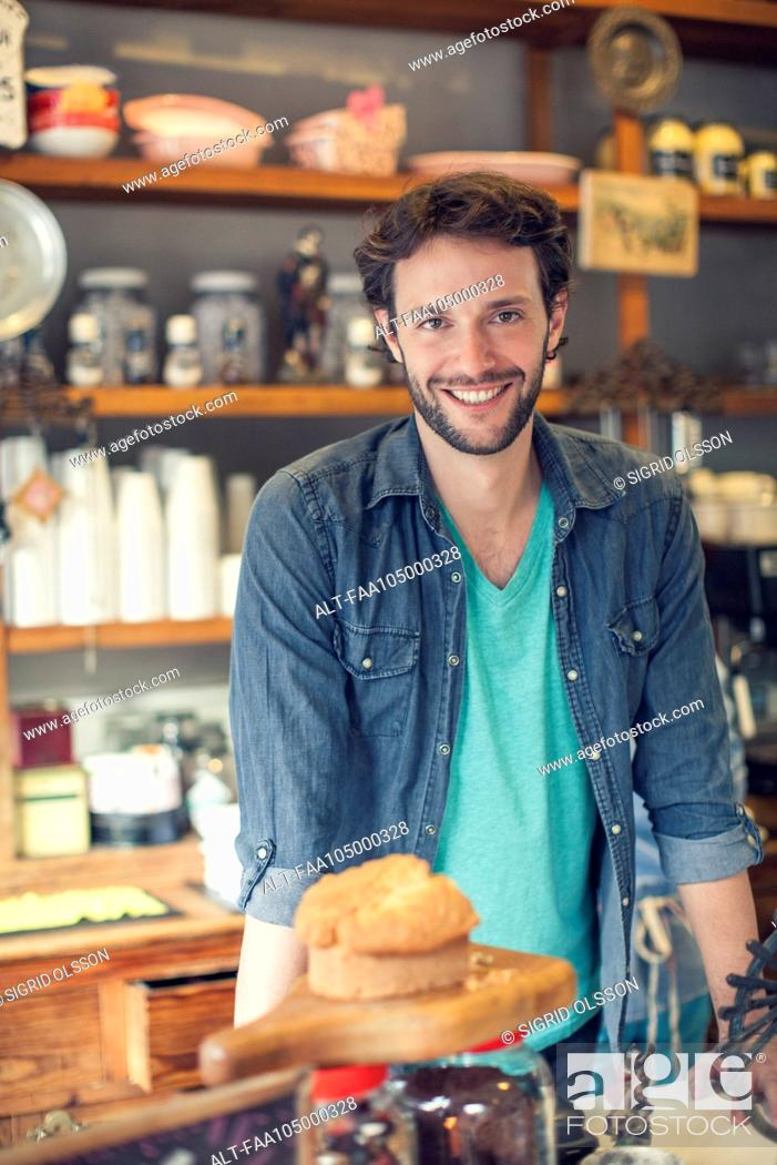 Stock Photo: Coffee shop owner.