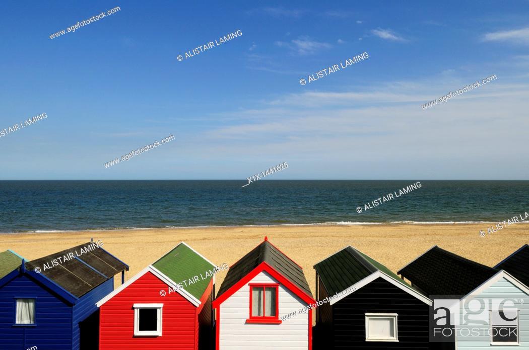 Stock Photo: Beach Huts at Southwold, Suffolk, England, UK.
