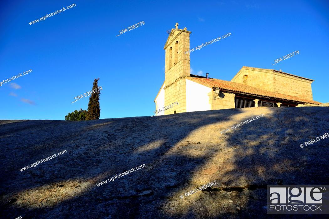 Stock Photo: Church of San Pedro Apostol in Sieteiglesias, Madrid, Spain.