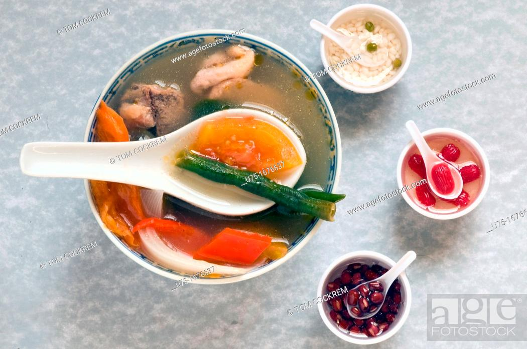 Stock Photo: novelty shot of Chinese soup bowl with miniatures.
