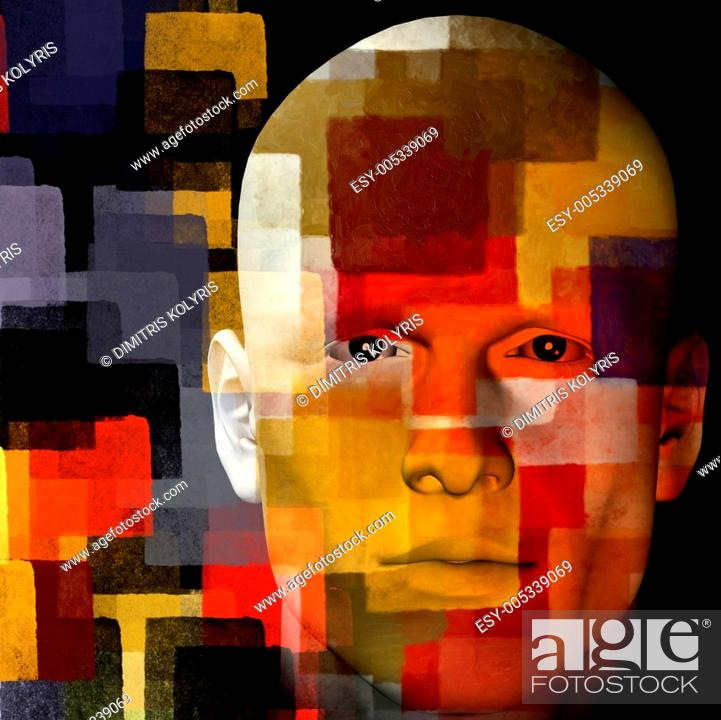 Stock Photo: man with squares illustration.