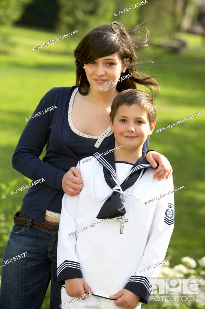 Stock Photo: Siblings of 17 and 9 years old. Sailor suit.