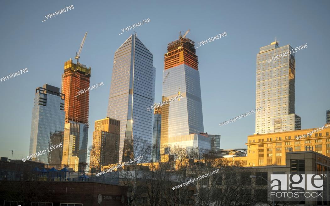 Stock Photo: 10 Hudson Yards, center left, 30 Hudson Yards, center right, and other Hudson Yards development in New York on Saturday, January 13, 2018.