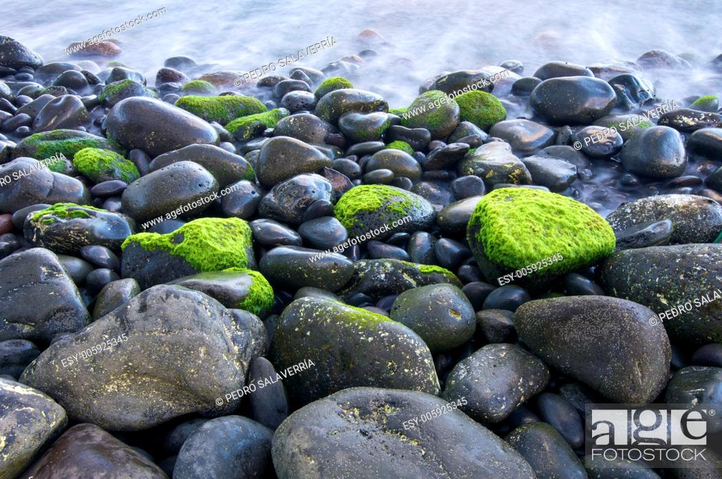 Stock Photo: view of a shingle beach in Madeira, Portugal.
