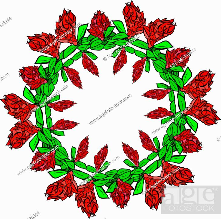 Stock Vector: round wreath of red flowers and green leaves isolated on white background, empty space in the middle.