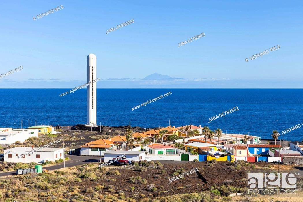 Stock Photo: La Salemera and lighthouse, in the background Tenerife, La Palma, Canary Islands, Spain, Europe.