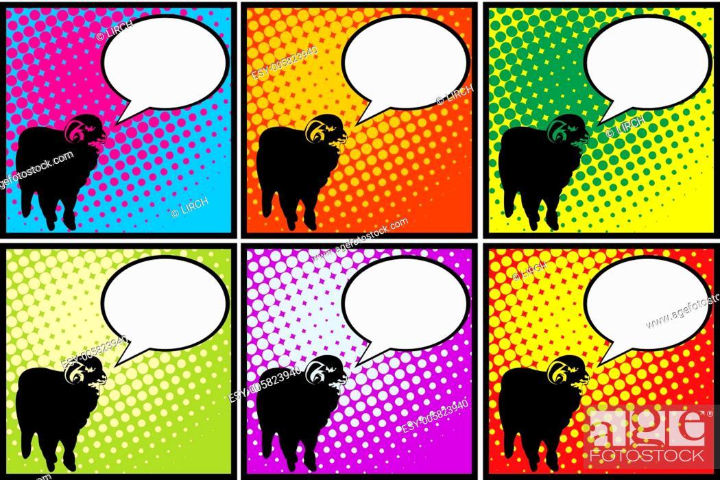 Stock Vector: Sheep in pop art.