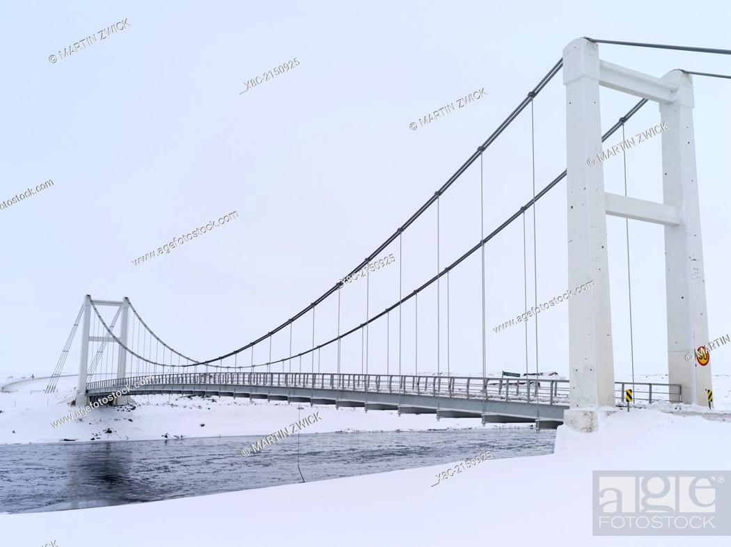 Stock Photo: Bridge over river Joekulsa a Fjoellum in winter in the highlands of Iceland. europe, northern europe, iceland, February.