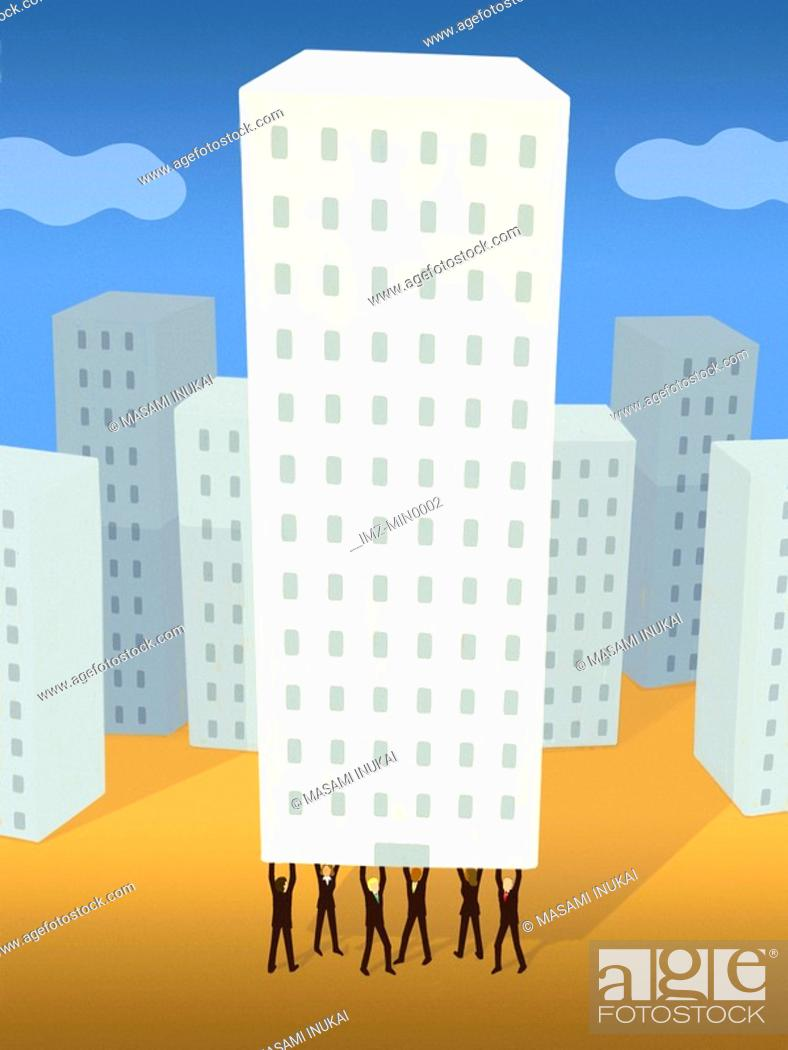 Stock Photo: Businessmen holding up a high rise building from underneath.