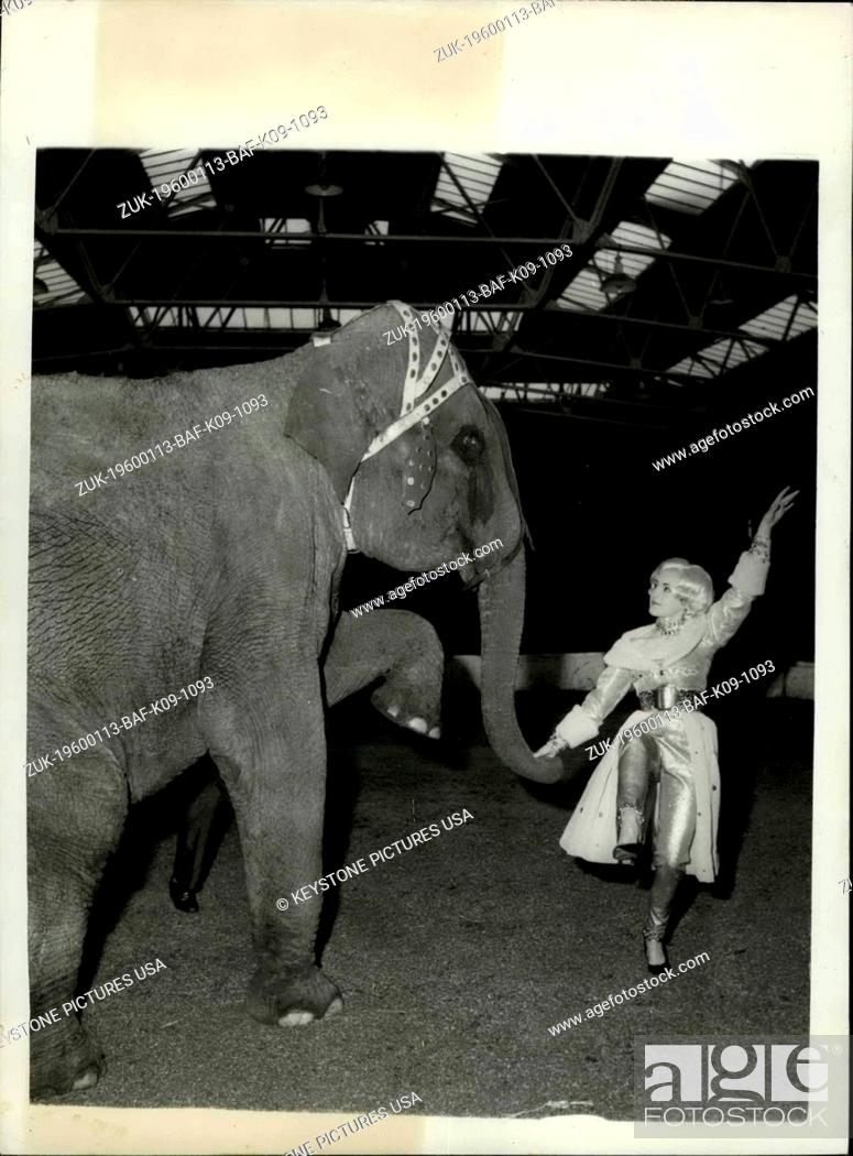 Stock Photo: 1973 - The Elephants and the dancing girls.; All the world loves the Circus and the Circus acts and proving to be one of the most popular today is the dance.