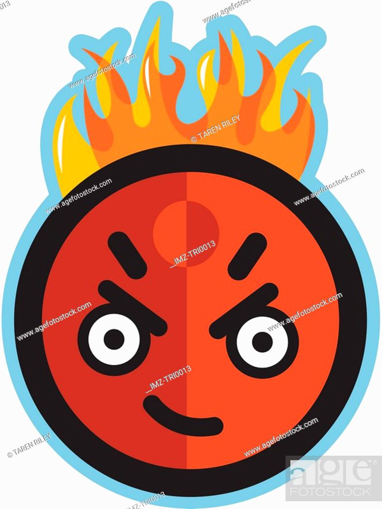 Stock Photo: Angry man on fire.