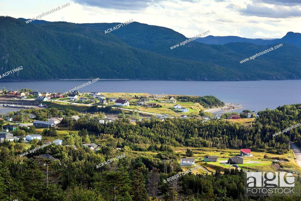 Stock Photo: Town of Norris Point and Gros Morne National Park as seen from a lookout situated at Jenniex Heritage House, Newfoundland, Canada.
