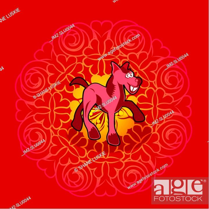 Stock Photo: Chinese new year symbol of horse.