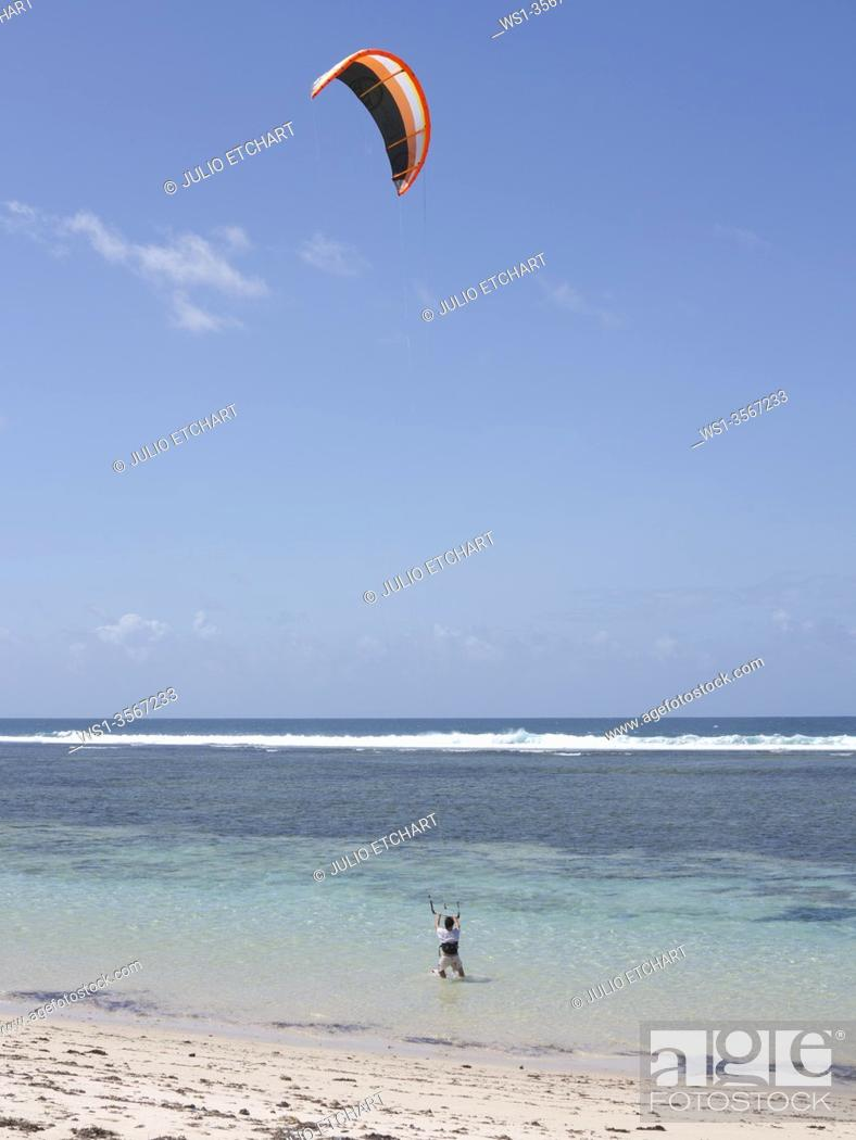 Stock Photo: Tourists wind surfing on the beach at Tiwi, on Indian Ocean coast, Kenya.