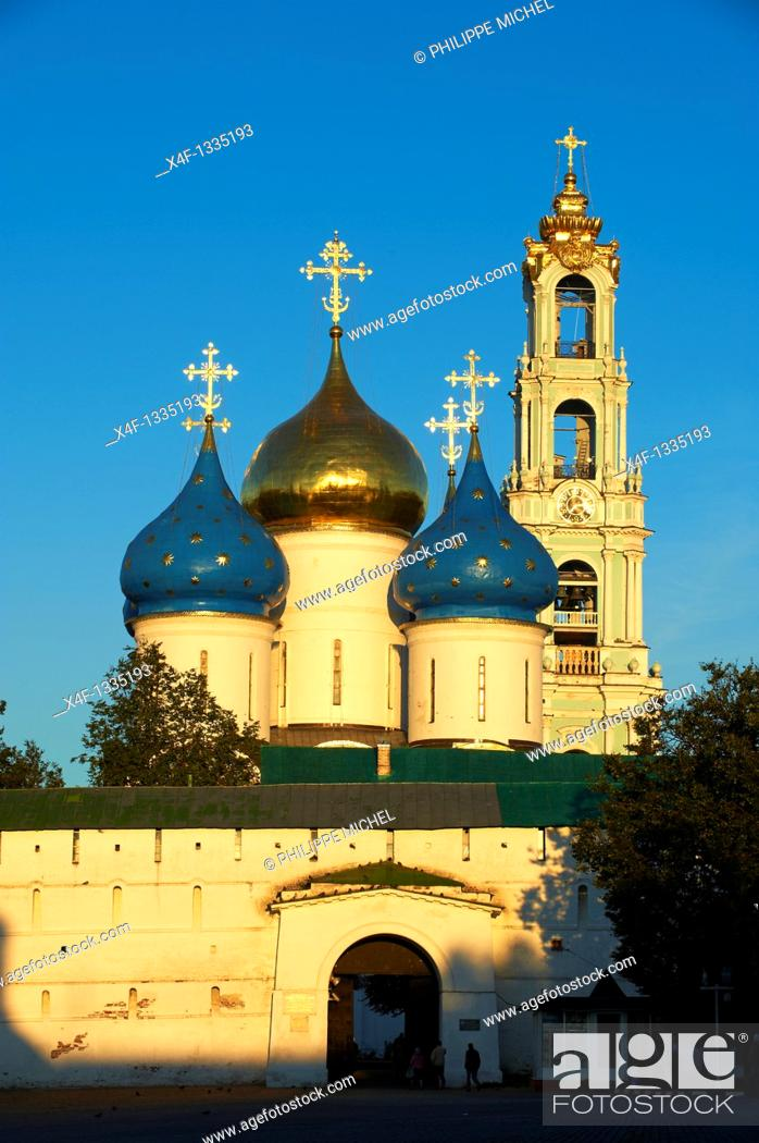 Stock Photo: Russia, Moscow Oblast, Sergiyev Posad, Trinity Lavra of St  Sergius, UNESCO World Heritage Site, Golden Ring.