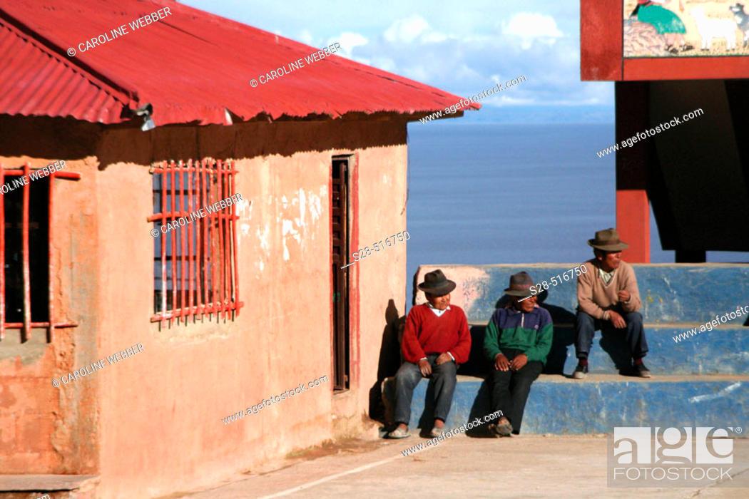 Stock Photo: Men on Isla Amantani, Lake Titicaca, Peru.