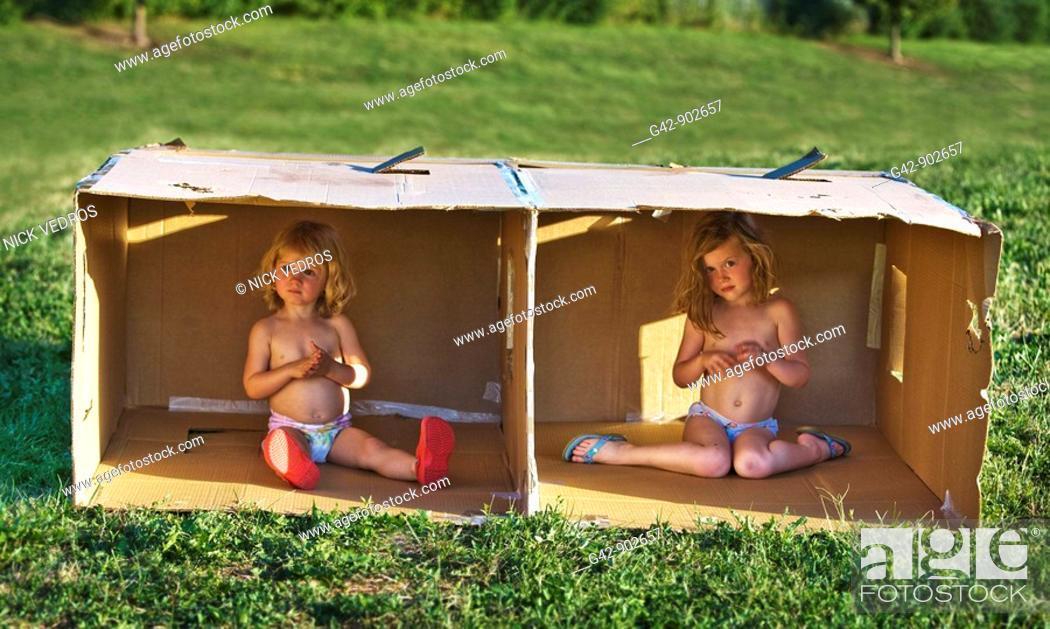 Stock Photo: Box girls.