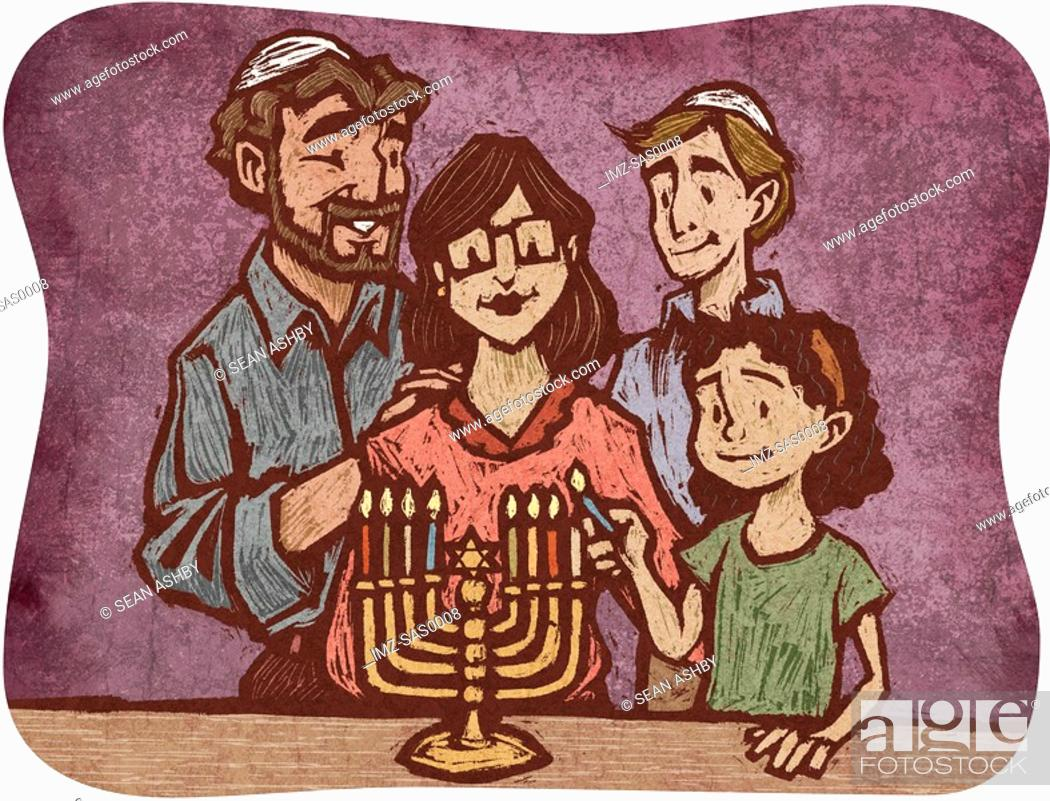 Stock Photo: A Jewish family lighting the Menorah.