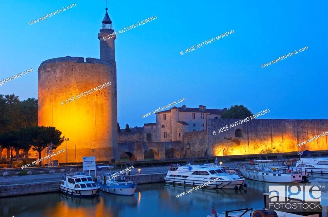 Stock Photo: Constance Tower at dusk, Aigues-Mortes. Petite Camargue, Gard, Languedoc-Roussillon, France.