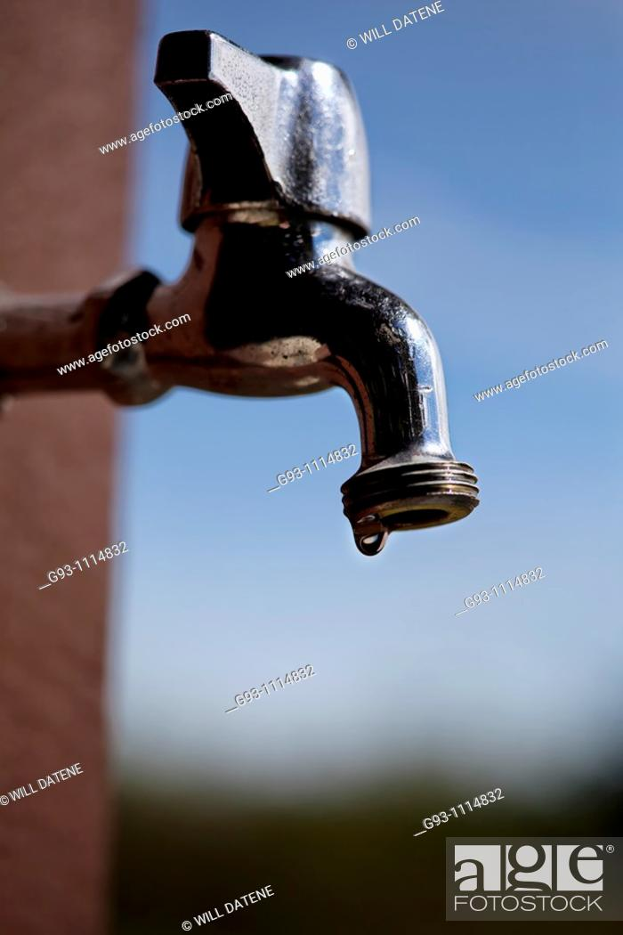 Stock Photo: dripping water tap.