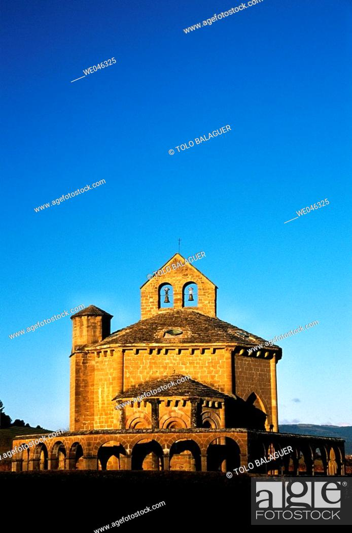 Stock Photo: Romanesque church of Santa María de Eunate, XIIth century. Muruzabal, Navarre. Spain.