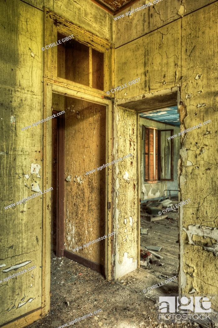 Stock Photo: Doors in abandoned house interior.