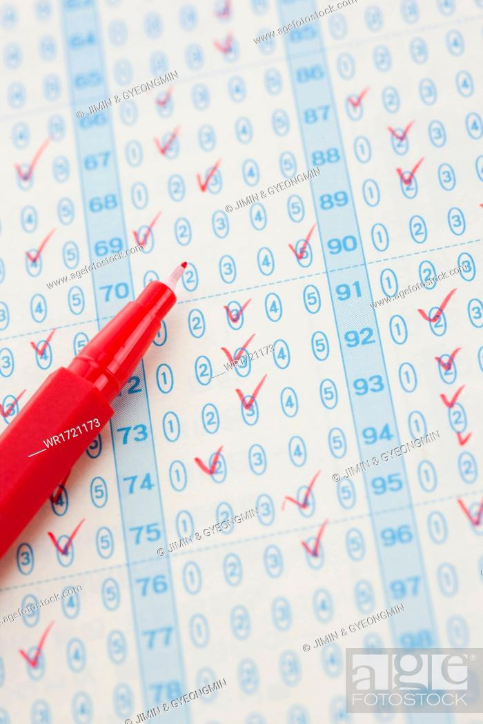 Stock Photo: A pencil on a exam result paper.