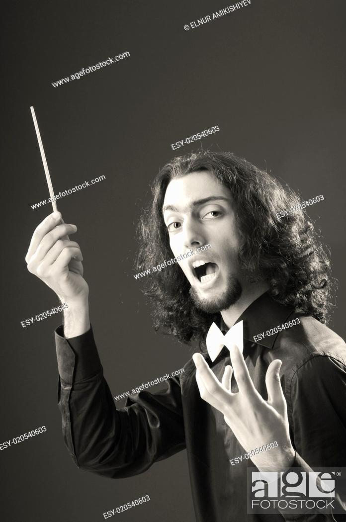 Stock Photo: Music concept with passionate conductor.